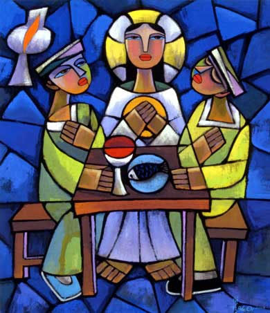 Supper at Emmaus painted by He Qi.Image courtesy of Vanderbilt University Divinity Library